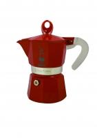Гейзерная кофеварка Bialetti Moka Glossy красная на 3 чашки