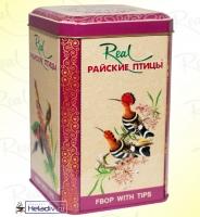 """Чай Real """"Райские Птицы"""" чёрный F.B.O.P. Цейлонский, с типсами в жестяной банке 200 г"""