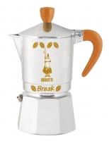 "Гейзерная кофеварка Bialetti ""Break"" апельсиновые ручка, верхушка, логотип, на 3 чашки"