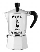 "Гейзерная кофеварка Bialetti ""Break"" черные ручка, верхушка, логотип, на 3 чашки"
