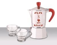 "Гейзерная кофеварка Bialetti ""SET Break Marocchino"" с двумя красными чашками, на 3 чашки"