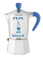Гейзерная кофеварка Bialetti Break голубые ручка, верхушка, логотип (на 3 чашки)