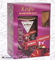 Подарочный набор Markk Кофе растворимый КАФЕ ДУЭТ (ложка из бамбука в подарок) 190 г