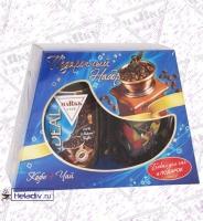 """Подарочный набор Markk """"Универсальный"""" Чай 50 г + кофе растворимый 95 г + бокал с рисунком"""
