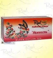 """Чай Real """"Райские Птицы"""" """"Нежность"""" чёрный с ароматом розы и клубники 20 пакетиков x 2 г"""