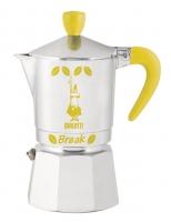 Гейзерная кофеварка Bialetti Break желтые ручка, верхушка, логотип, на 3 чашки
